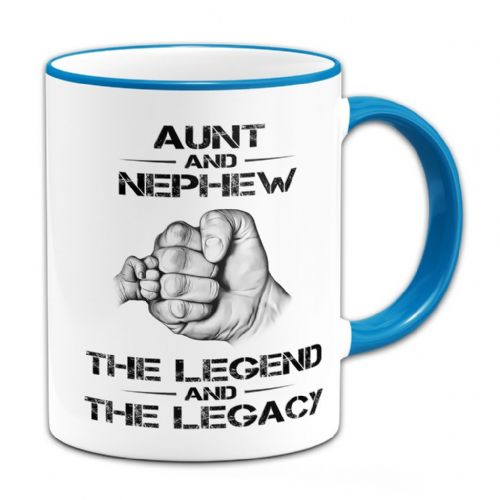 The Legend And The Legacy Novelty Gift Mug - Blue Handle / Rim